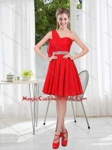 2015 The Most Popular One Shoulder A Line Cocktail Dresses with Ruching