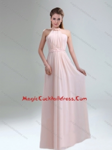 Beautiful 2015 Fall High Neck Chiffon Light Pink Cocktail Dresses