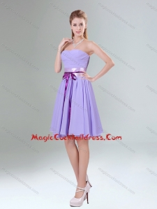 Decent Lavender Ruched Mini Length Cocktail Dress with Bowknot Sash