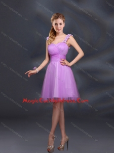 Elegant A Line Straps Appliques Cocktail Dresses in Lilac