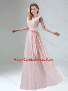 Elegant Belt Ruching Chiffon Cocktail Dress with Bowknot
