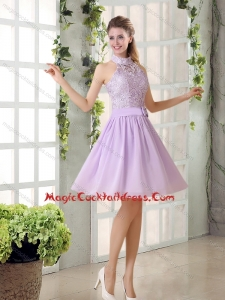 High Neck Lilac A Line Lace Cocktail Dress Chiffon for 2015