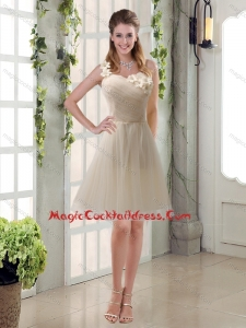 New Arrival Champagne Ruched Handmade Flowers One Shoulder 2015 Cocktail Dresses