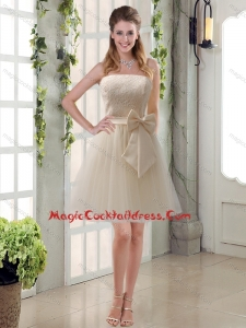 Popular Champagne Strapless Princess Bowknot Cocktail Dresses for 2015