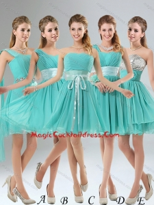 2015 A Line Ruching Lace Up Cocktail Dress in Aqua Blue