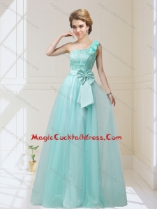 2015 Cute One Shoulder Cocktail Dresses with Hand Made Flowers and Bowknot