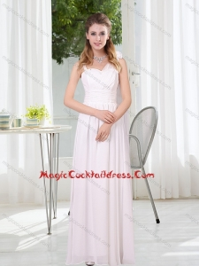 2015 New Style White Empire Ruching Cocktail Dresses with Asymmetrical