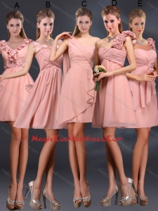 2015 Ruching Chiffon Cocktail Dresses in Peach