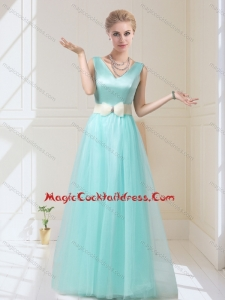 Delicate V Neck Floor Length Cocktail Dresses with Bowknot for 2015