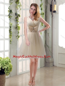 Beautiful Champagne Bowknot Princess Cocktail Dresses with V Neck