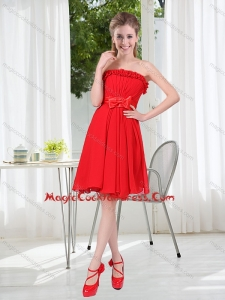 New Arrival Ruching Strapless Bowknot Cocktail Dress in Red