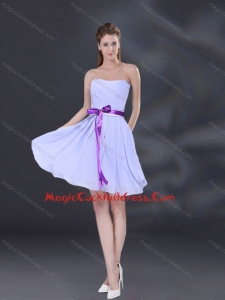 New Arrival Ruching and Belt Chiffon Cocktail Dresses in Lavender
