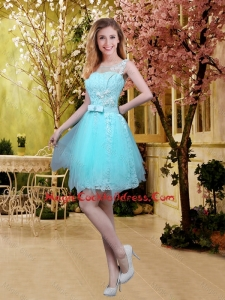 2015 Fall Perfect Scoop Beaded Cocktail Dresses with Appliques in Aqua Blue