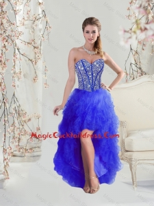 Cheap Beaded and Ruffles High Low Cocktail Dresses in Royal Blue