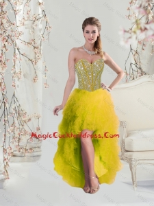 Classical High Low Sweetheart Yellow 2016 Cocktail Dresses with Beading and Ruffles