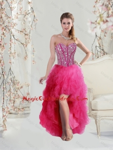 Elegant High Low Sweetheart Beaded and Ruffles Cocktail Dresses in Hot Pink
