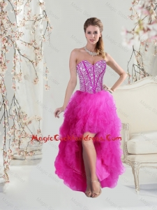 Inexpensive High Low Sweetheart Fuchsia 2016 Plus Size Cocktail Dresses with Beading and Ruffles