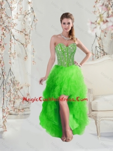 Inexpensive High Low Sweetheart Spring Green 2016 Cocktail Dresses with Beading