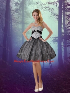 Wonderful Sweetheart Appliques 2016 Cocktail Dresses with Mini Length in Grey