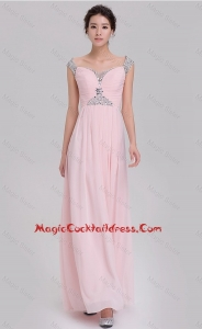 Elegant Empire Off The Shoulder Cap Sleeves Pink Cocktail Dresses with Beading