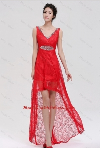 Pretty V Neck Laced and Beaded Red Cocktail Dresses with High Low