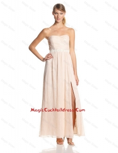 2016 Elegant Empire Sweetheart Cocktail Dresses with Belt and Slit