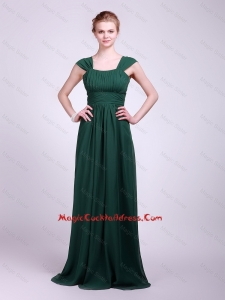 2016 Hot Sale Straps Brush Train Cocktail Dresses in Dark Green