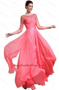 Beautiful Bateau Coral Red Newest Cocktail Dresses with 3/4-length Sleeves