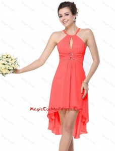 Classical High Low Beaded Cocktail Dresses with Criss Cross