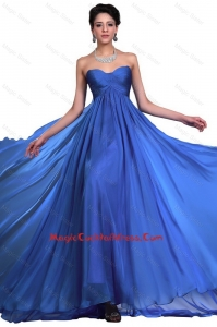 Elegant Sweetheart Ruched Blue Cocktail Dresses with Brush Train