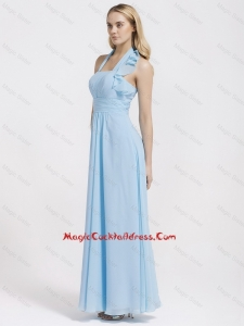 Gorgeous Halter Top Ruffles and Belt Baby Blue Prom Dresses for 2016