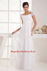 Perfect Square Ruching Lace White Cocktail Dresses with Cap Sleeves