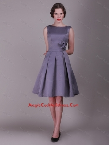 2016 Elegant A Line Bateau Cocktail Dresses with Hand Made Flowers