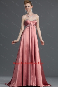 Cute Beading Elastic Woven Satin Cocktail Dresses with Brush Train