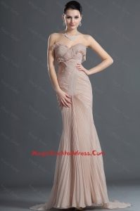 Gorgeous Mermaid Brush Train Pleats Cocktail Dresses in Champagne