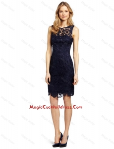 Popular Column Bateau Laced Cocktail Dresses in Black for 2016