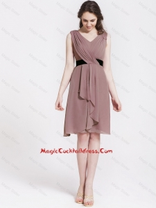 Popular Short V Neck Ruching and Belt Cocktail Dresses in Brown for 2016