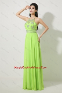 Pretty Halter Top Beaded Newest Cocktail Dresses in Spring Green