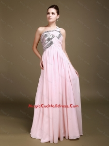 Unique One Shoulder Baby Pink Cocktail Dresses with Sequins