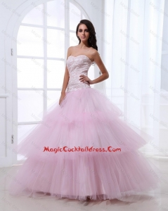 Wonderful Sweetheart Baby Pink Cocktail Dresses with Sequins and Ruffled Layers