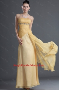Discount Beading and Ruching Cocktail Dresses in Gold for 2016