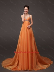 Fashionable Court Train Cocktail Gown with Beading and Ruching