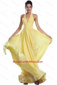 Fashionable Empire Ruched Yellow Cocktail Dresses with Halter Top