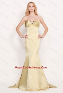 Latest Mermaid Sweetheart Gold Cocktail Dresses with Brush Train