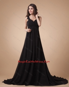 Comfortable Appliques Black Cocktail Dress with Court Train