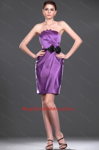 Delicate Eggplant Purple Short Cocktail Dress with Belt and Bowknot