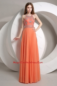 Elegant Beaded Empire Orange 2016 Cocktail Dresses with Halter Top