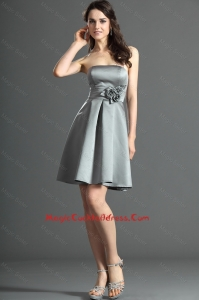 The Super Hot Short Silver Cocktail Dress with Hand Made Flowers