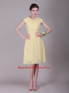 Beautiful Empire High Neck Cap Sleeves Cocktail Dresses with Ruching