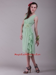 Cheap Empire V Neck Hand Made Flowers Cocktail Dresses in Apple Green